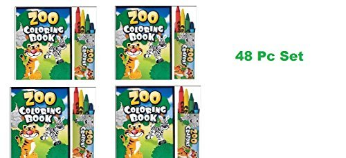 48 Pc ZOO ANIMAL Activity Set ~ 24 Zoo Animal Coloring Books ~ 24 Crayon Packs ~ Birthday Party Favor ~ Road Trip ~ Camps (Kids Package Books compare prices)