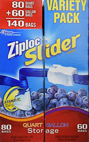 Ziploc Easy Zipper Variety Pack - 140 Bags(including 80 Quart Size Bags & 60 Gallon Size Bags) (Ziploc Gallon Slider Storage Bags compare prices)