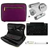 Faux Leather Carrying Bag Sleeve Case For Amazon Kindle Fire HD HDX 8.9 inch Tablet + Includes Bluetooth Keyboard + Metal Stand + Stylus Pen