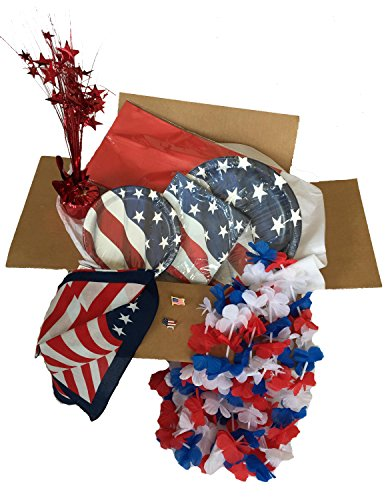 Patriotic July 4th - Memorial Day Stars and Stripes 9 Piece Party/Picnic Bundle