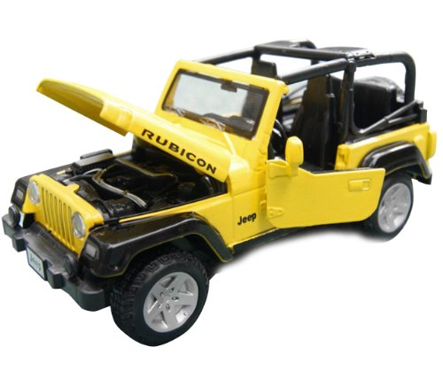 Nuoya001 Yellow Jeep Wrangler Convertible Alloy Diecast Car Model 4-Door Suv Sound&Light