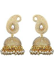 Shining Diva White Pearl Jhumki Earring For Women & Girls