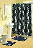 Home Dynamix 316-450 Bath Boutique Poly-Acrylic 15-Piece Bathroom Set, Black
