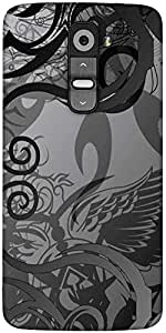 Snoogg Grey Abstract Designer Protective Back Case Cover For LG G2