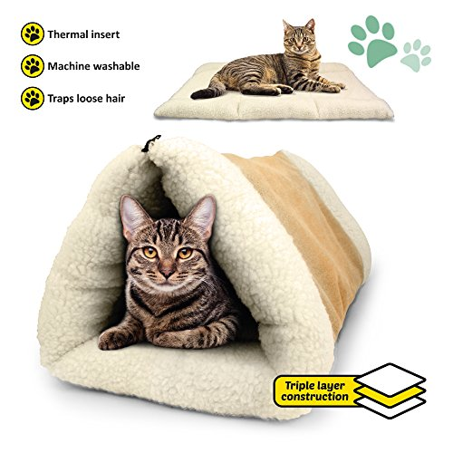 PARTYSAVING 2-in-1 Pet Bed Snooze Tunnel and Mat for Pets Cats Dogs and Kittens for Travel or Home, APL1343, Beige