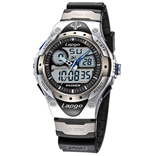 Pas Waterproof Sports Dual Time Casual Boys Wrist Watches (White)
