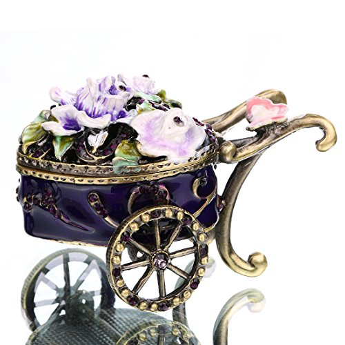 YUFENG Mini Ornamental Hinged Trinket Box Hand-painted Patterns Trinket Bejeweled Box Collectible (festooned vehicle)