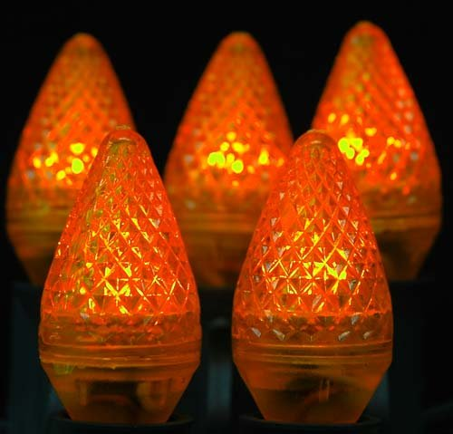 Novelty Lights, Inc. C7-Led-Or Outdoor Patio Party Christmas Replacement Bulbs, Orange, 25 Pack