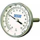 "WIKA TI.20 Stainless Steel 304 OEM Industrial Bi-Metal Thermometer, 2"" Dial, 0/250 Degrees F/C, 2-1/2"" Stem, 1/4"" NPT Connection"