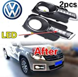 GOOACC® LED DRL Daytime Running Fog Light Lamp Cover for 2008 2009 2010 2011 2012 Volkswagen VW Tiguan