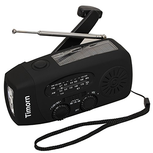 Timorn Multifunctional Dynamo Emergency Solar Hand Crank Self Powered AM/FM/NOAA (WB) Weather Radio with LED Flashlight, Smart Phone Charger Power Bank with Cables, Black (High Powered Car Alternator compare prices)