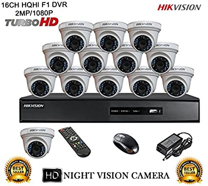 Hikvision-DS-7216HQHI-E2-16CH-Dvr,-13(DS-2CE56DOT-IRP)-Dome-Camera-(With-Mouse,-Remote)