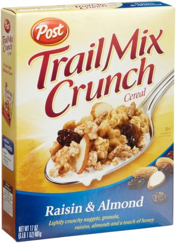 Post Trail Mix Crunch Cereal, Raisin & Almond, 17-Ounce Boxes (Pack of 4)
