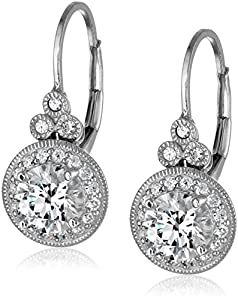 Platinum-Plated Sterling Silver Swarovski Zirconia Round Antique Drop Earrings (3.5 cttw)