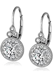 Platinum or Gold Plated Sterling Silver Swarovski Zirconia Round Antique Earrings (3.5 cttw)