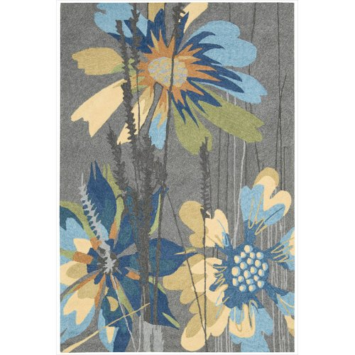 Nourison South Beach Indoor/Outdoor 5.0X7.6 Grey Area Rug, 100% Polyester