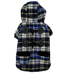 ESINGYO Oxhorn Plaid Winter Cotton Coat Hooded,for Small Dog Cat Puppy under 20 pounds, Blue L