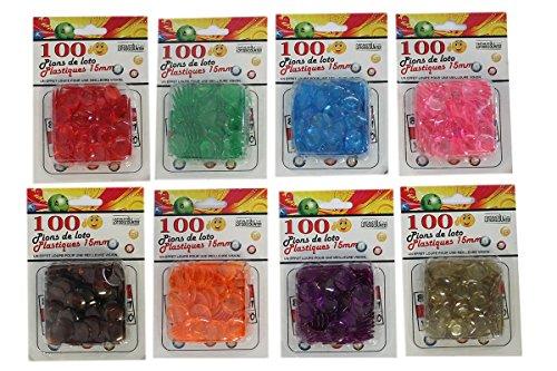 8 sachets de 100 pions de loto plastique.