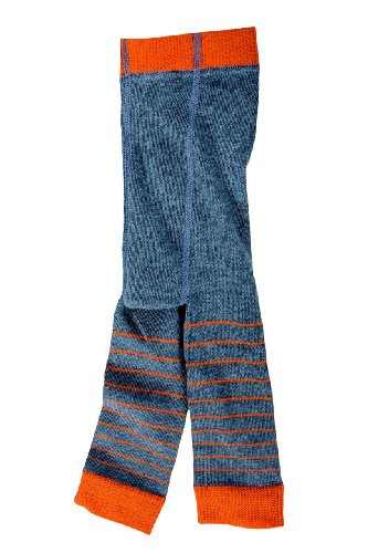 Cotton People organic Jungen Legging Strickleggings J1314, Gr. 128/134, Mehrfarbig (Ringel grau - orange)