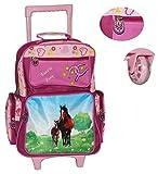 Alta calidad Trolley + Mochila + bolso + bolso morado Pony/caballo de los ni�os maleta equipaje de los ni�os�-�Equipaje de mano�-�tela�-�Ruedas de goma�-�Repelente de agua�-�Las ni�as, dise�o de b�hos y flores funda/estuche de viaje wie angegeben Tro