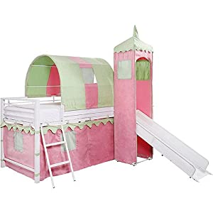 Girl's Castle Tent Loft Bed w/ Slide & Under Bed Storage, Girl's Castle Tent Loft bed is fit for a Princess. It features a slide, a tent over a twin bed, and a covered hiding place below. Finish is White powder coat with pink and green microfiber fabric.