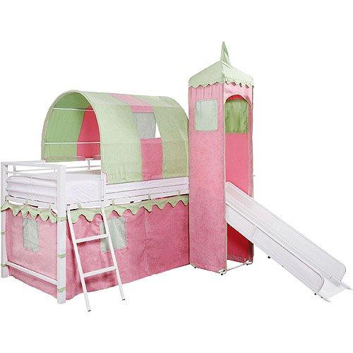 Girl's Castle Tent Loft Bed w/ Slide & Under Bed Storage, Girl's Castle Tent Loft bed