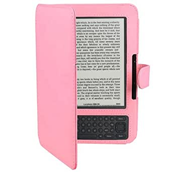 Pink Leather Cover Case Compatible with Amazon Kindle 3 3G WiFi Keyboard Ebook