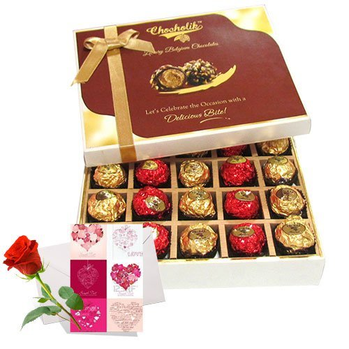 Valentine Chocholik's Belgium Chocolates - Sweet Choco Surprise Of Chocolates With Love Card And Rose