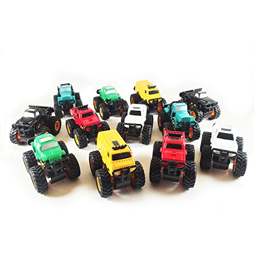 Boley Monster Truck Mini 12 pack - friction powered pull back monster jam trucks and cars that make great stocking stuffers (6 different shapes and colors, 2 of each. As pictured) (Monster Truck Power Wheels compare prices)