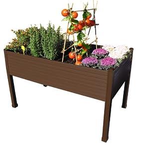 hochbeet 120x60x75 cm balkon terrassen farbe schokolade amazon. Black Bedroom Furniture Sets. Home Design Ideas