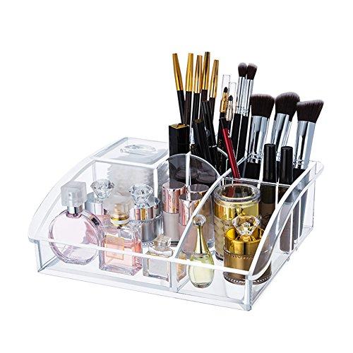 Choice Fun Acrilico Cosmetic Organizer Trucco Immagazzinaggio con 8 Scomparti 2 Coperchio