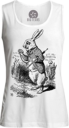 Big Texas Alice in Wonderland - the White Rabbit (Black) Womens Muscle Tank-Top T-Shirt