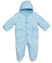 Leveret Quilted Baby Snowsuit (12 Months, Lt Blue)