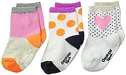 OshKosh BGosh Baby Baby-Girls Newborn 3 Pack Heart Socks, Multi-Color, 3-12 Months