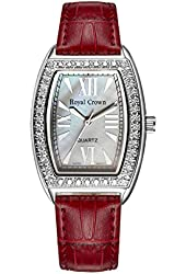 Royal Crown Women's Analog-quartz Wristwatches Mother of Pearl Dial Langii-3635l Red Leather Strap