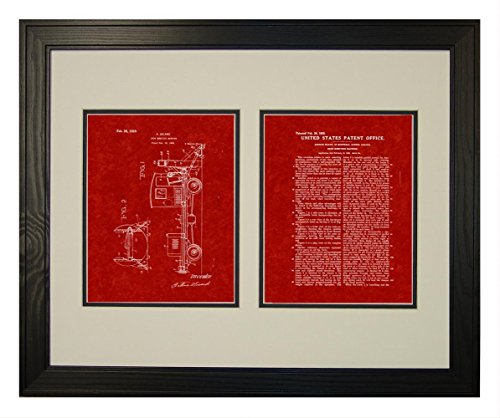 Snow-removing Machine Patent Art Burgundy Red Print in a Solid Pine Wood Frame with a Double Mat (16