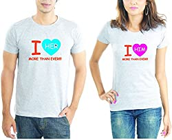 LaCrafters Couple tshirt - Lots of Love Couples Tshirt_Grey_M - Set of 2