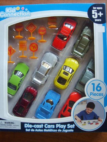 Kid Connection Die-Cast Cars Play Set, 16 Pieces