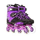 L-glace インラインスケート 大人用 プロ向け ローラーシューズ 男女兼用 ジュニアインラインスケート ブラックXパープル 25cm(40)