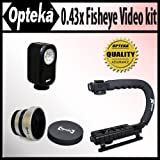 Opteka Extreme Action Video Photographer's Kit (Includes the Opteka 0.43x Super Fisheye Lens, X-GRIP Camcorder Handle, & 3 Watt Video Light) for Canon Elura, Optura 300, 400, 500, Pi, ZR10, ZR20, ZR25MC, ZR30MC, ZR40, ZR45MC, ZR50MC, ZR60, ZR65MC, ZR70MC, ZR80, ZR85, ZR90, ZR960, DC410 and DC420