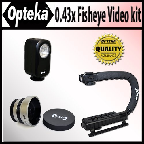 Opteka Extreme Action Video Photographer'S Kit (Includes The Opteka 0.43X Super Fisheye Lens, X-Grip Camcorder Handle, & 3 Watt Video Light) For Hitachi Dz-Bd7Ha, Gx3300/A/E, Hs303/A/E, Hs403, Hs503, Mv100/A/E, Mv1000E, Mv200/A/E, Mv208/A/E, Mv230/A/E, Mv