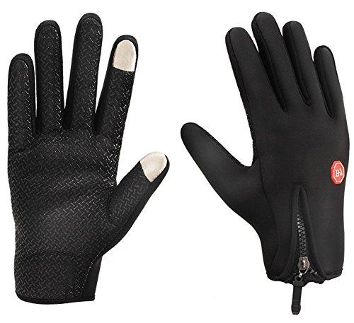YYGIFT® Touch Screen Gloves Outdoor Sports Winter Gloves Wind-stopper WaterProof For Men Women – Black M