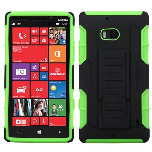 Phonetatoos For Nokia 929 (Lumia Icon) Black/Electric Green Car Armor Stand Protector Cover (Rubberized)