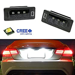 See iJDMTOY (2) Super Bright Xenon White 3-CREE LED License Plate Lamps For BMW 1 2 3 4 5 Series X5 X6, etc Details