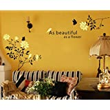 UberLyfe Pigmented Polyvinyl Decal Of White Rose Vines And Birds Wall Sticker