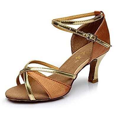 Hot-Selling Brand New Latin Dance Shoes High Heel for Ladies/Girls/Women/Ballroom Tango Shoes 7cm-Brown with Gold,8