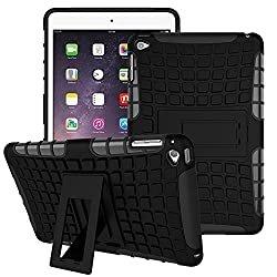 "TGKâ""¢ Hard Rugged Armor Defender Hybrid Rubber Bumper Back Case Cover with Kick Stand for Apple iPad Air 2 - Black"