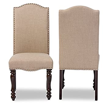 Baxton Studio Zachary Chic French Vintage Oak Brown Beige Linen Fabric Upholstered Dining Chair