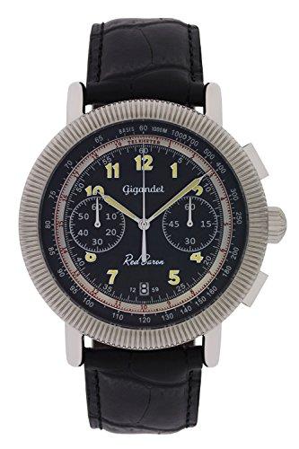 Gigandet Reloj de Hombre Cuarzo Red Baron IV Cronógrafo Analógico Cuero Negro Plata G19-005