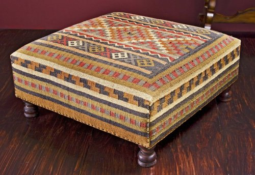 Rae Plains Southwestern Rustic Kilim Square Coffee Table Ottoman (B001NGILW4)